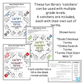 Library Vocabulary Terms | Cootie Catchers Word Activities