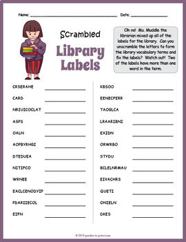 Library Vocabulary Word Scramble Puzzle Worksheet by Puzzles