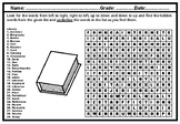 Library Word Search Puzzle Worksheet, No Prep Sub Plan