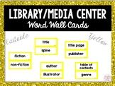 Editable Library Word Wall Cards & Header- Includes Social Media Words