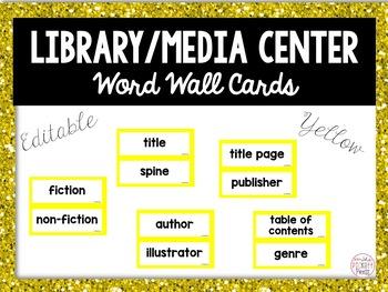 Editable Library Word Wall Cards & Header- Includes Social Media Words