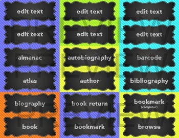 Library Word Wall - Neon and Chalkboard