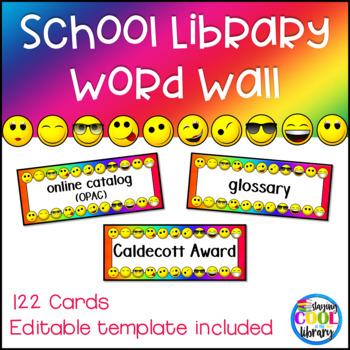 Library Word Wall - Rainbow Emoji