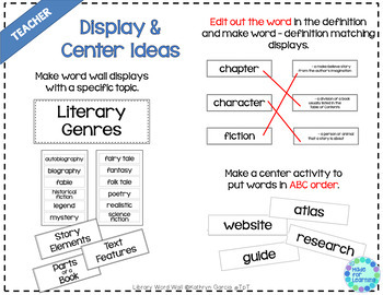 Library Word Wall Vocabulary AND DEFINITIONS for the Media Center