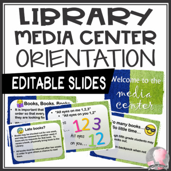 Library and Media Center Orientation Introduction PowerPoint Slide Show-EDITABLE