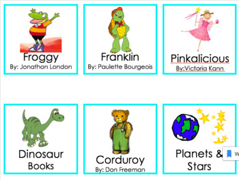 Library book bin labels by category and author with pictures