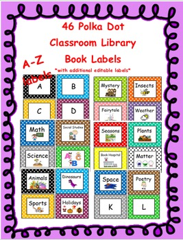 Library book labels - Polka dots