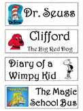 Library book labels by titles and genre