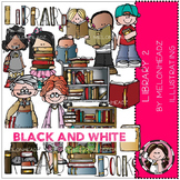 Library 2 clip art - BLACK AND WHITE- by Melonheadz