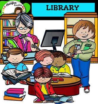 Library clip art -Color and B&W-