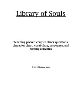 Library of Souls teaching packet and curriculum