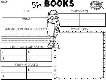 Library or Big Books Station Activity Sheets