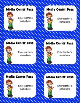 Library or Media Center Passes for K-5, editable for teachers' names