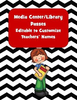 Library or Media Center Passes for K-5, editable for teach