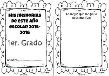 Librito de memorias! Memories book END OF THE YEAR! 1st grade