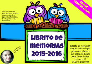 Librito de memorias! Memories book END OF THE YEAR! 2nd grade
