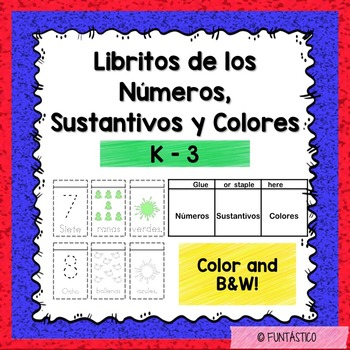 Libritos de los Números, Sustantivos y Colores K-3