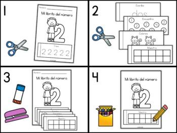 Libritos de los Números 1-10 (Number Flip Books in Spanish)