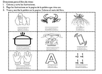 Libro de Rimas Spanish Back to School Rhyming Book