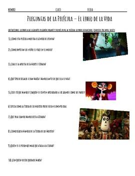 Spanish Viewing Guide Preguntas Para El Libro de la Vida Activity, Book of  Life