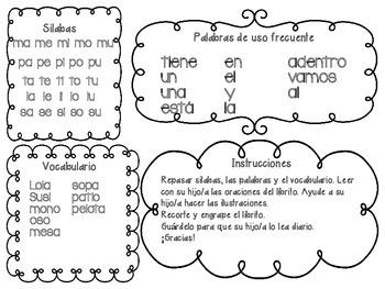 Libro de las silabas m, p, t, l y s