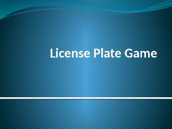 Licence Plate Game