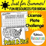 License Plate Challenge Boards for Summer Break