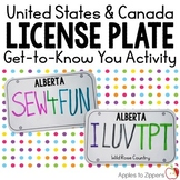 License Plate Get-to-Know You Activity (Canada & United States)