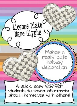 License Plate Name Glyph - Getting to Know You Activity