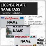 License Plate Name Tags-EDITABLE/PRINTABLE/DIGITAL