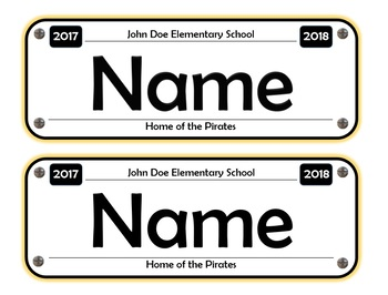 License Plate Name Tags - Car Themed Classroom