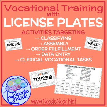 License Plate Vocational Task for Autism Units/Work Systems