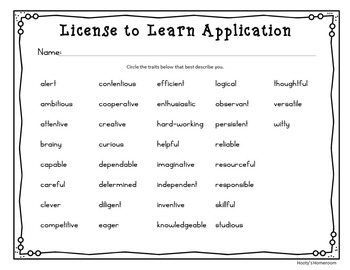 License to Learn - Back to School Freebie