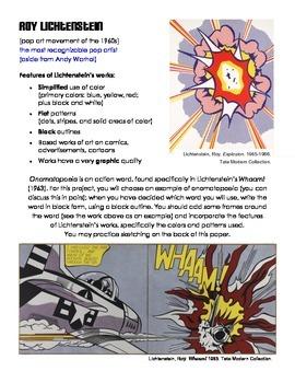 Lichtenstein Pop Art Onomatopoeia Handout