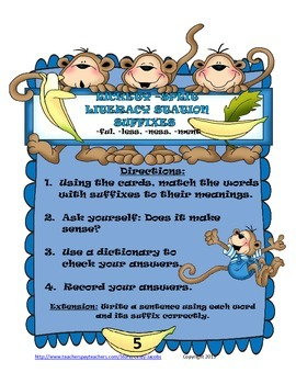 Lickety-Split Literacy Station Suffixes