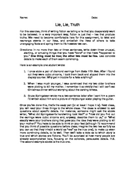 Lie, Lie, Truth Creative Writing Activity