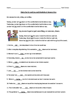 Lie and Lay Verb Tenses Definitions and Worksheet with Answer Key