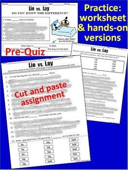 Lie vs. Lay Pack: Pre-Quiz, Poster/Handout, Practice Activities, & Review Game