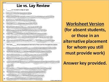 lie vs lay game by jessica osborne teachers pay teachers. Black Bedroom Furniture Sets. Home Design Ideas