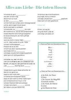 Lied Alles Aus Liebe Die Toten Hosen By Der Die Das Deutsch Tpt