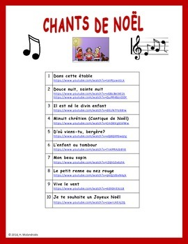 liens pour 10 chants de nol links for 10 french christmas carols