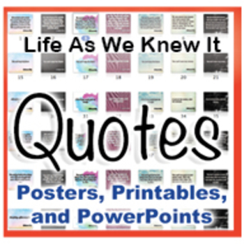 ... Life As We Knew It Novel Quotes Posters And Powerpoints
