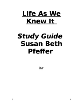 Life As We Knew It Vocabulary Study Guide