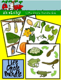 Life Cycle Bundle Set - Pumpkin / Butterfly / Frog 300dpi Color BW Black Lined
