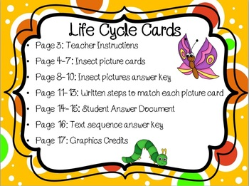 Life Cycle Card Sort: Complete and Incomplete Metamorphosis