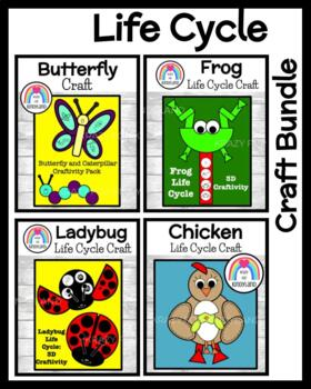 Life Cycle Crafts Value Pack: 3D Frog,Chicken,Butterfly,Caterpillar,3D Ladybug