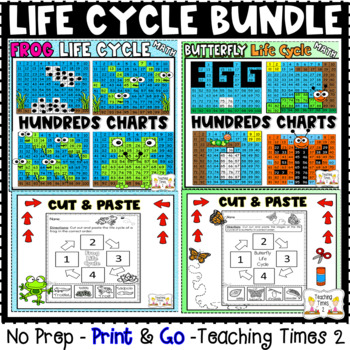Life Cycle Hundreds Charts and CUT & PASTE Bundle l SCIENCE l MATH