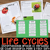 Life Cycle: Informational Articles, QR Code Research Pages & Fact Sorts BUNDLE