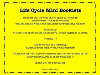 Life Cycle Mini Booklets 4-Pack: Frog, Chicken, Butterfly, Ladybug
