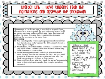 Life Cycle Of A Snowman: Literacy and Science OnHowWater Changes Types Of Matter